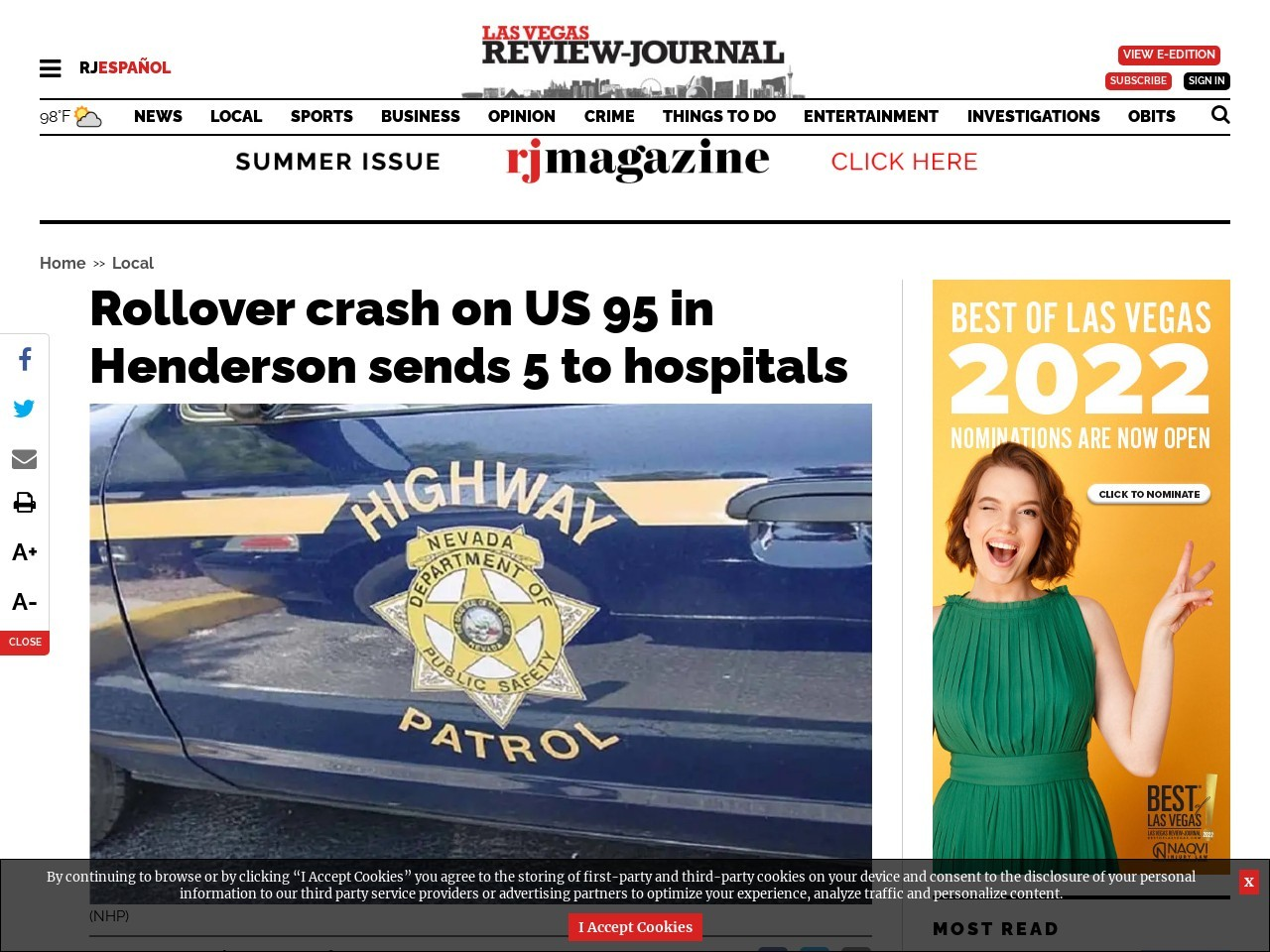 Rollover crash on US 95 in Henderson sends 5 to hospitals