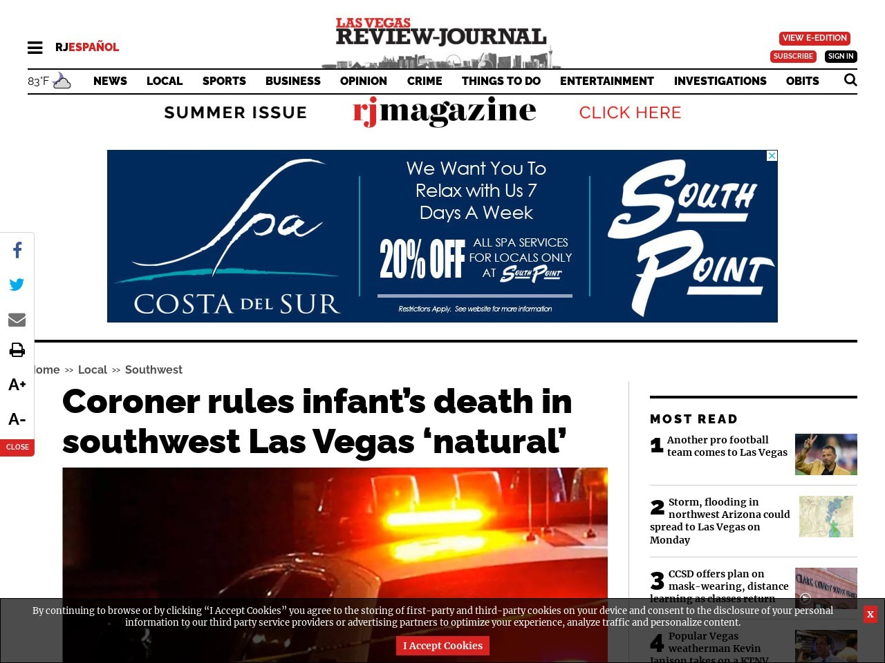 Coroner rules infant's death in southwest Las Vegas 'natural'