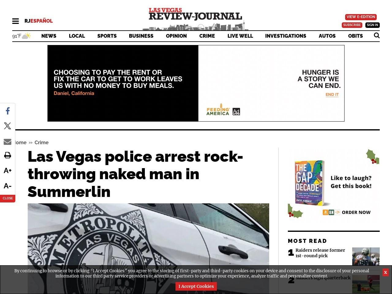 Las Vegas police arrest rock-throwing naked man in Summerlin