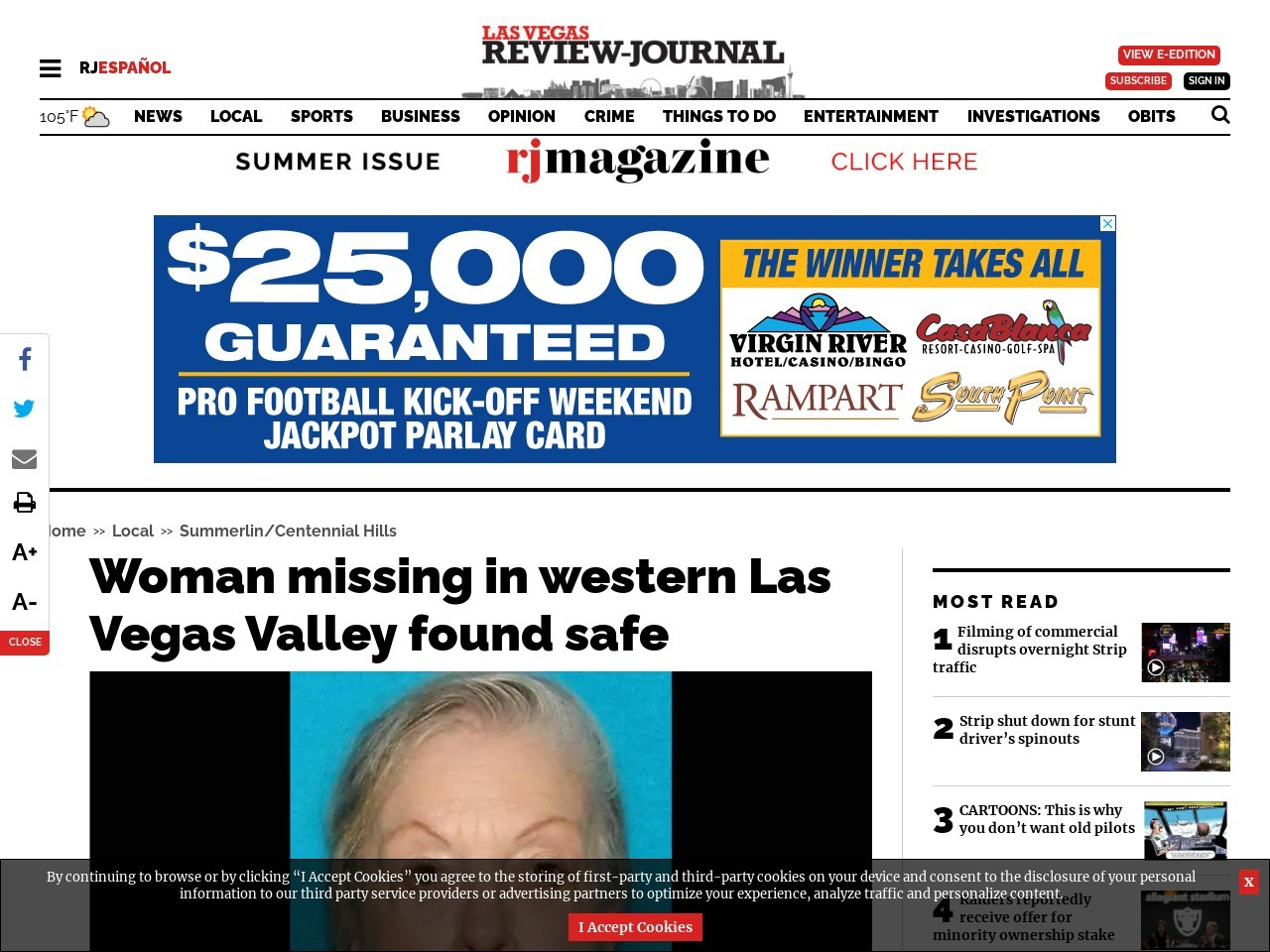 Las Vegas police looking for missing 70-year-old woman