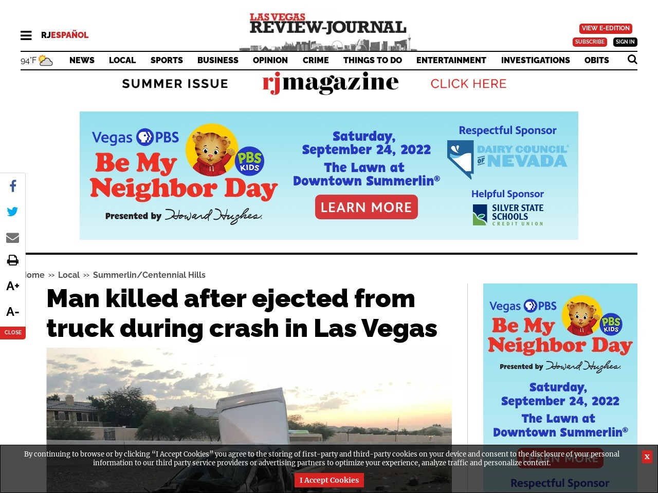 Man killed after ejected from car during crash in Las Vegas