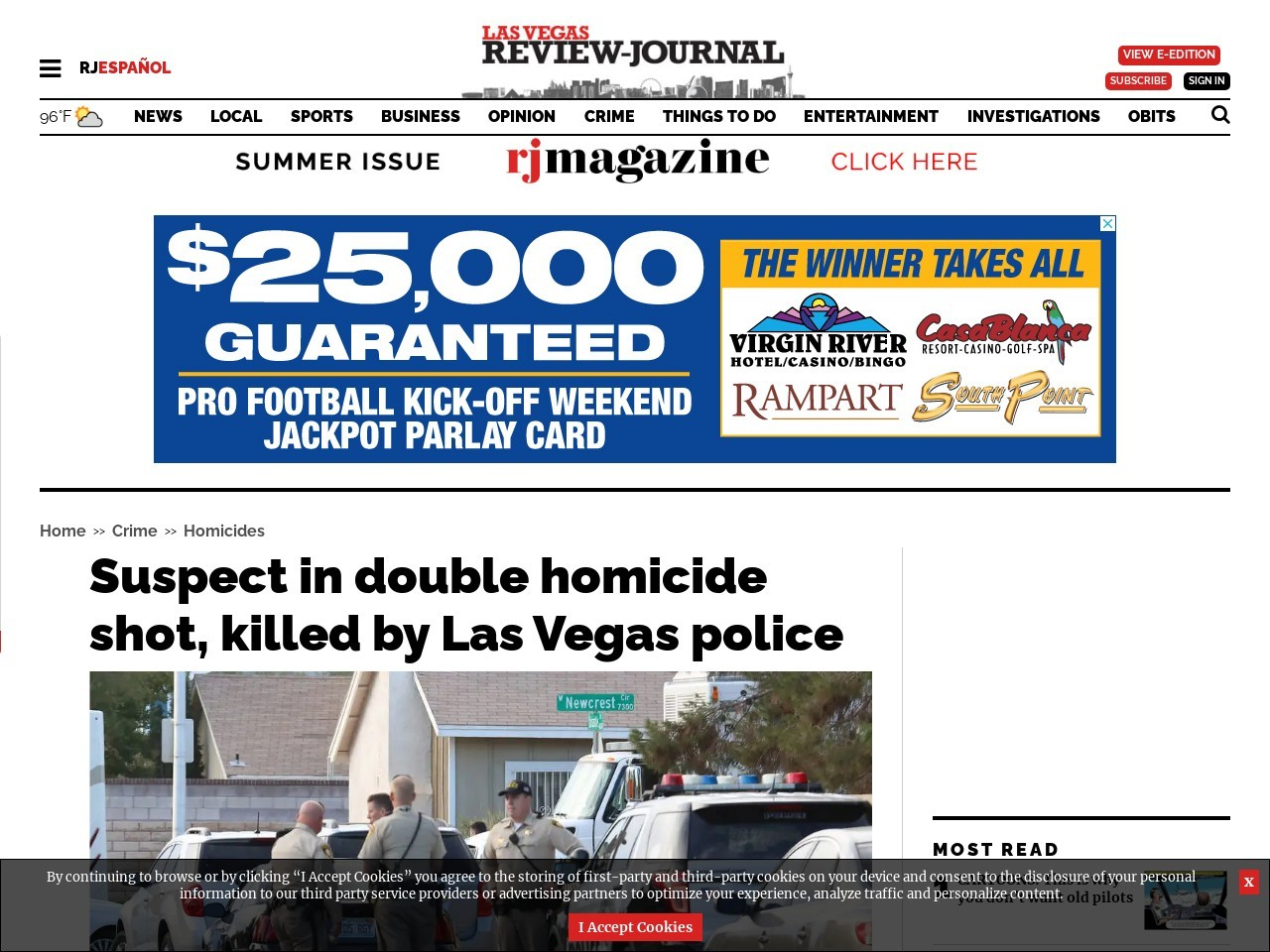 Suspect in double homicide shot, killed by Las Vegas police