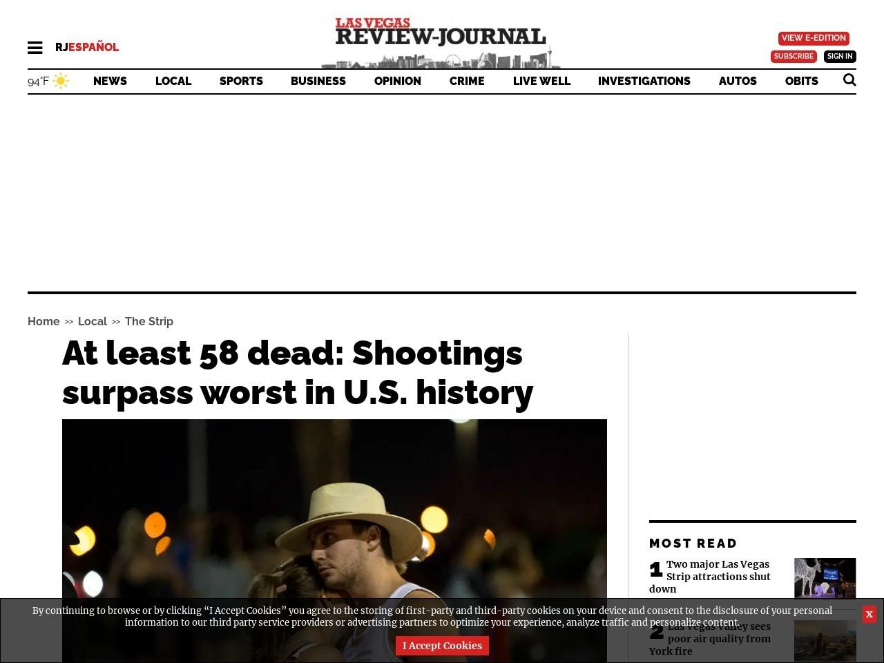 At least 50 dead: Shootings surpass worst in U.S. history