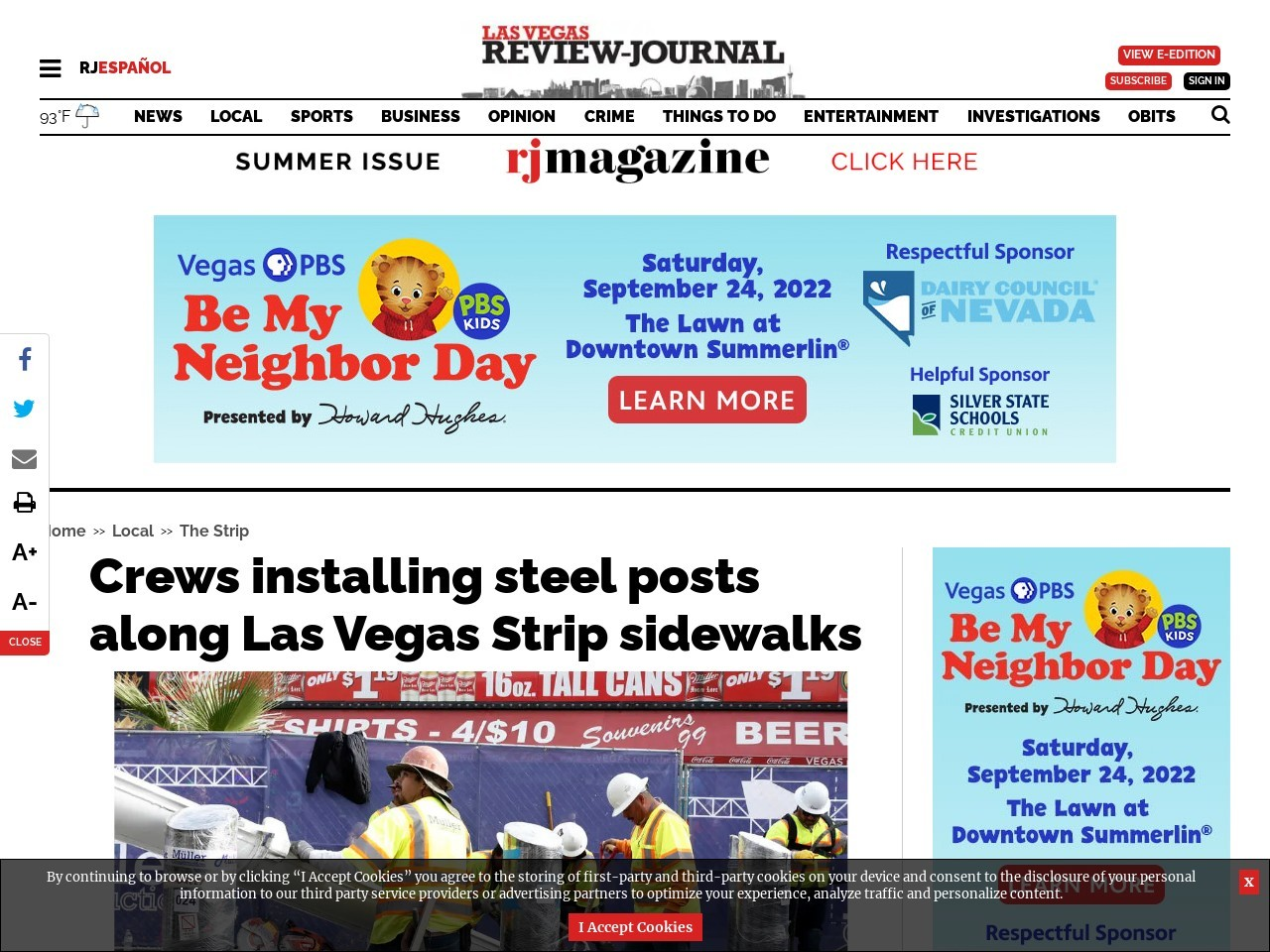 Crews installing steel posts along Las Vegas Strip sidewalks
