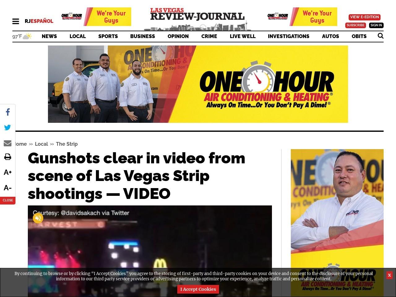 Gunshots clear in video from scene of Las Vegas Strip shootings — VIDEO