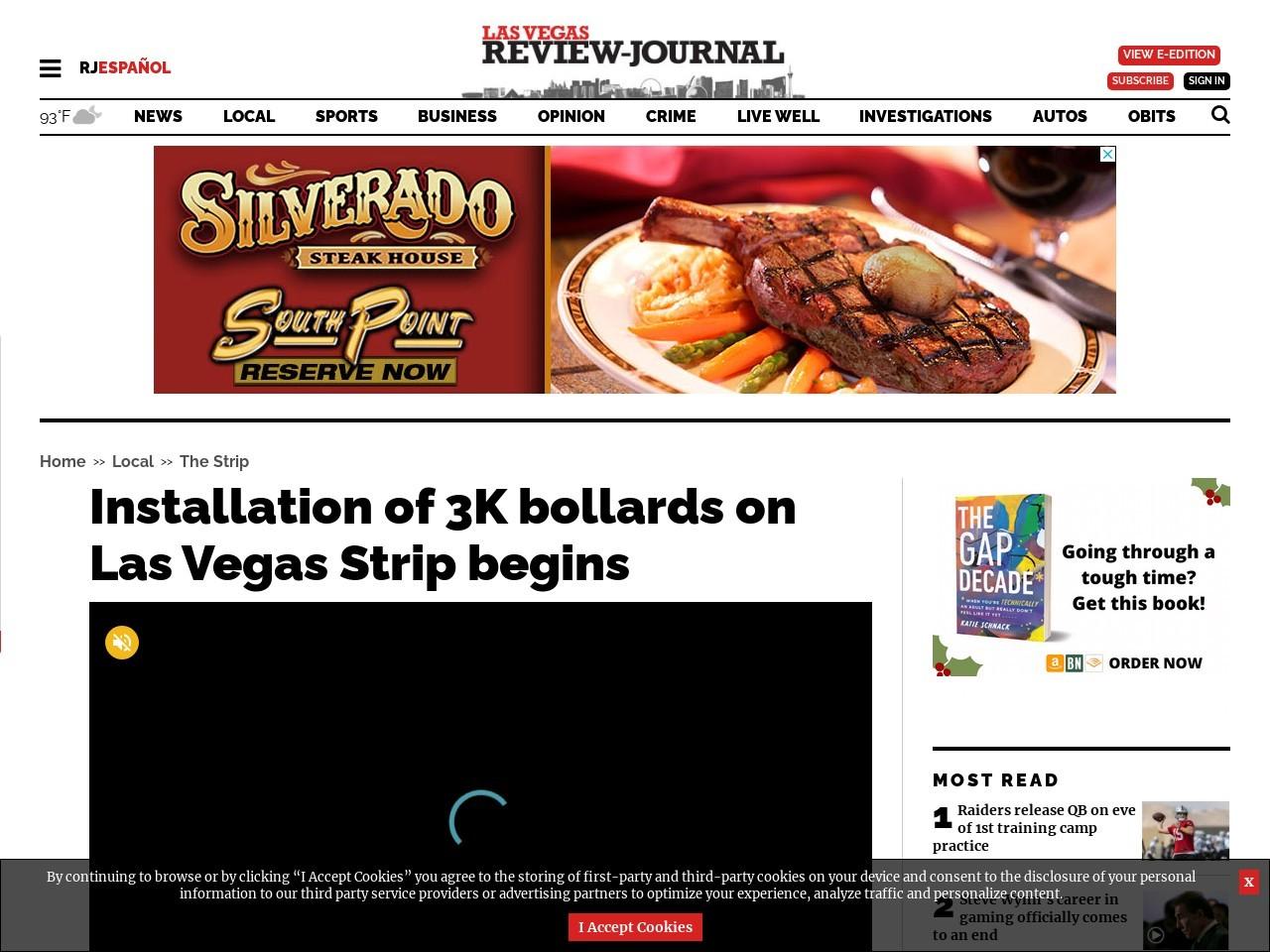 Installation of 3K bollards on Las Vegas Strip begins
