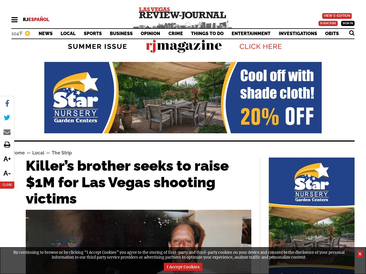 Killer's brother seeks to raise $1M for Las Vegas shooting victims
