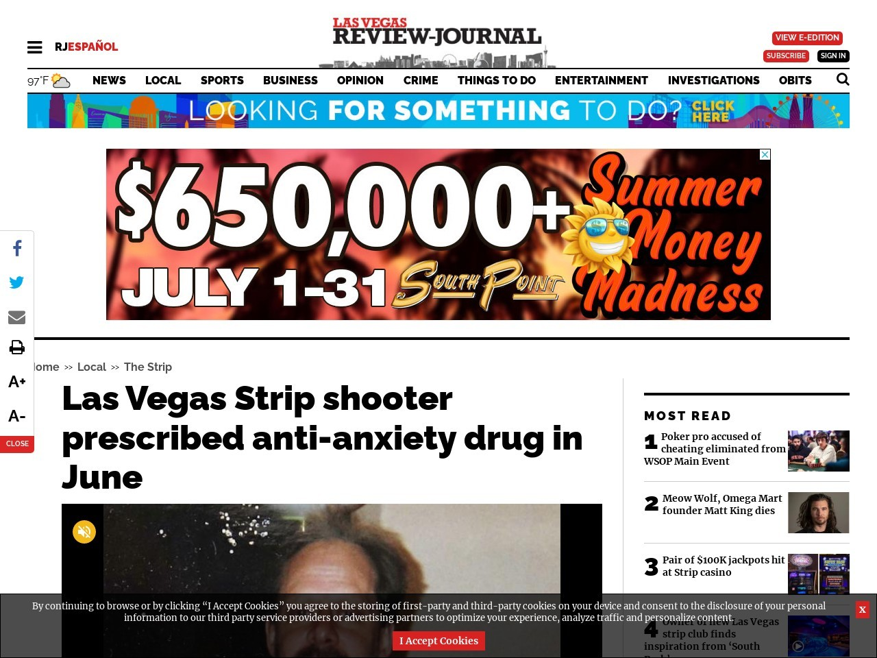 Las Vegas Strip shooter prescribed anti-anxiety drug in June
