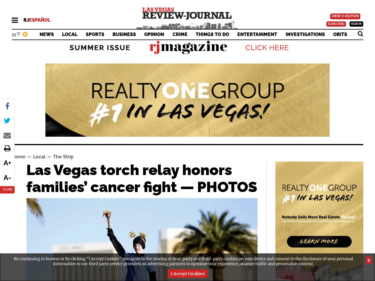 Las Vegas torch relay honors families' cancer fight — PHOTOS