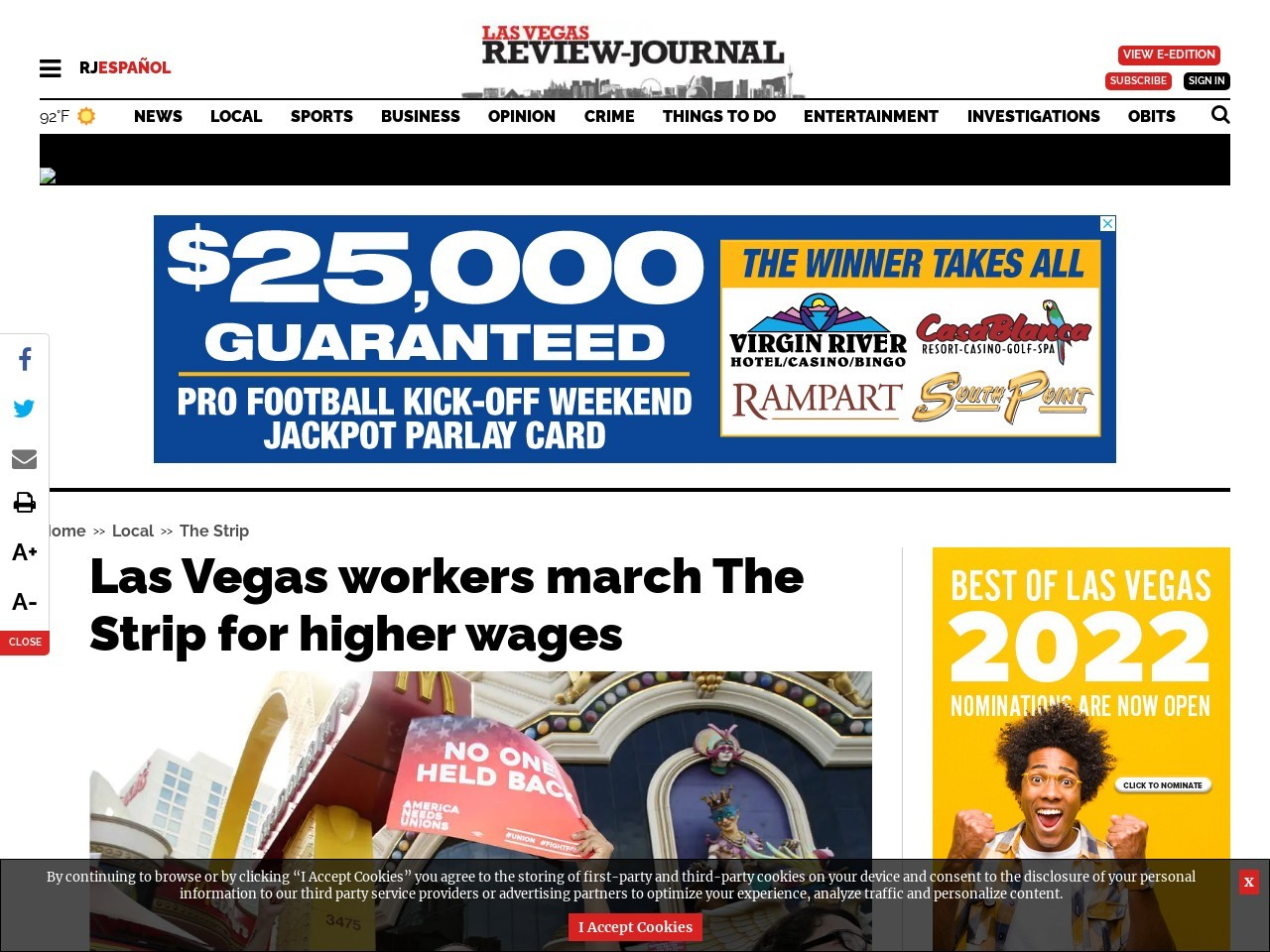Las Vegas workers march The Strip for higher wages