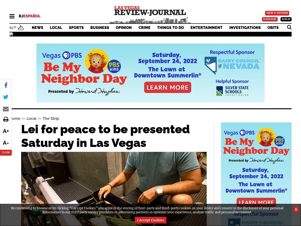 Lei for peace to be presented Saturday in Las Vegas