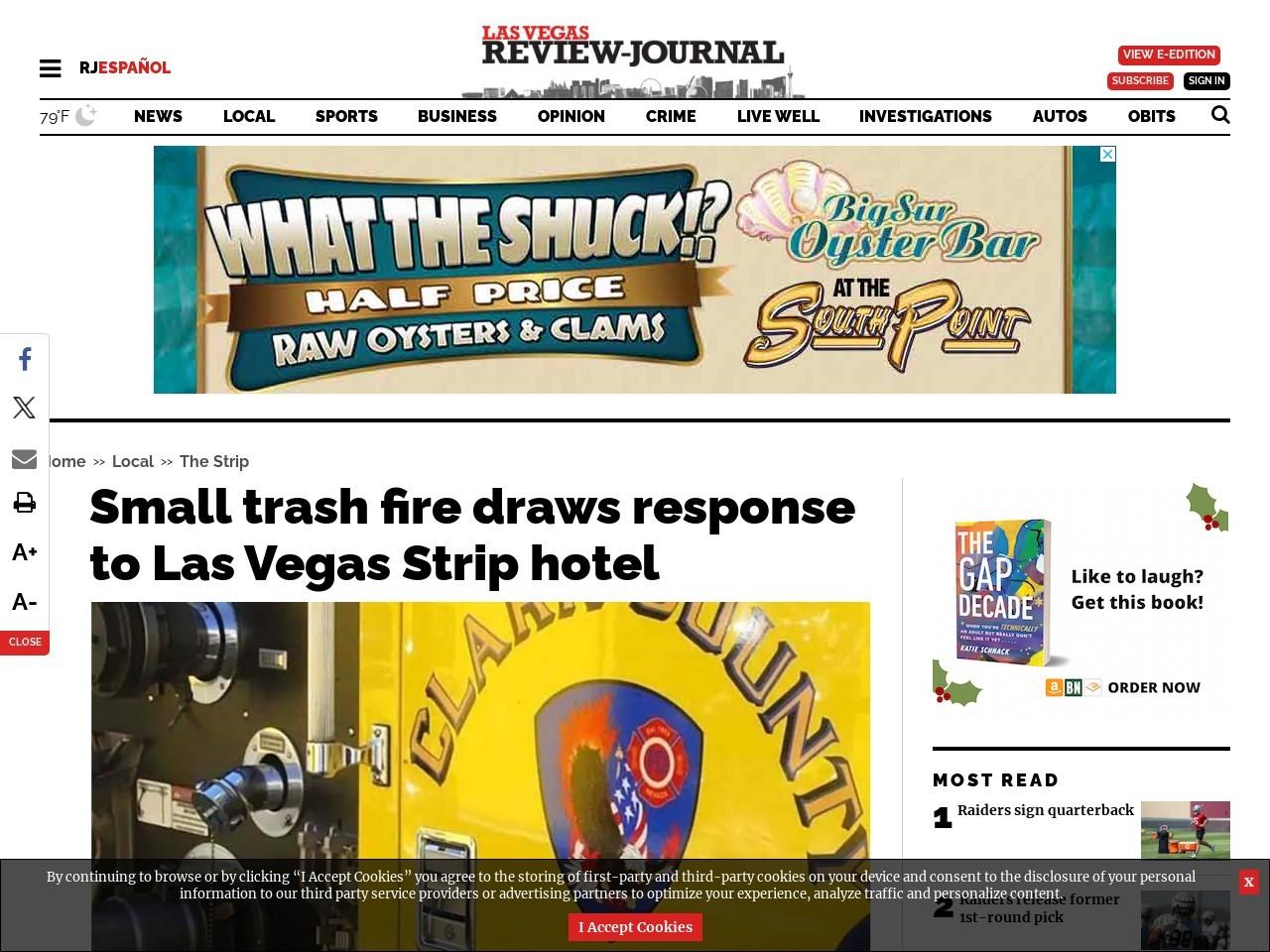 Small trash fire draws response to Las Vegas Strip hotel