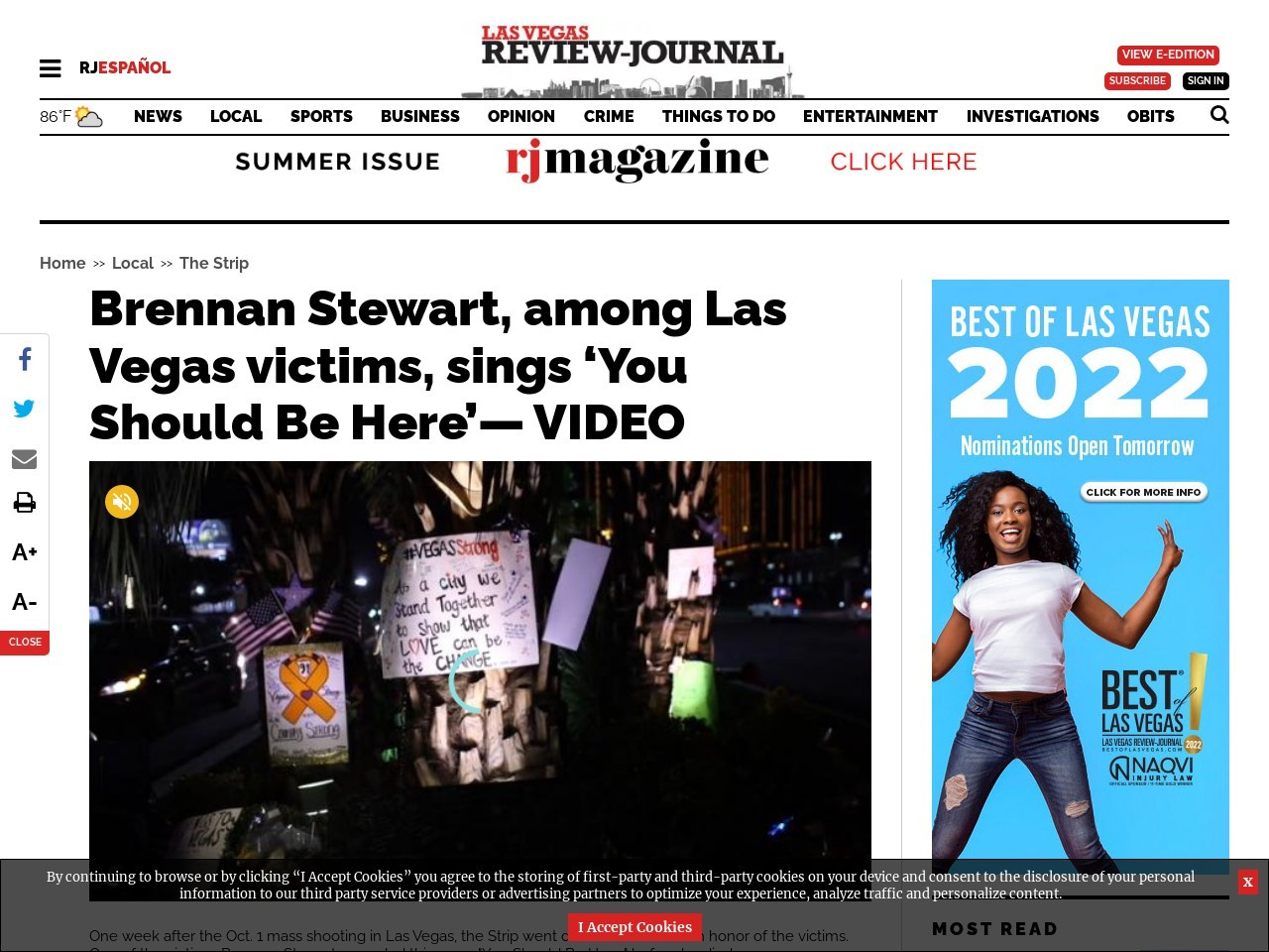 Stewart, among Las Vegas victims, sings 'You Should Be Here'— VIDEO