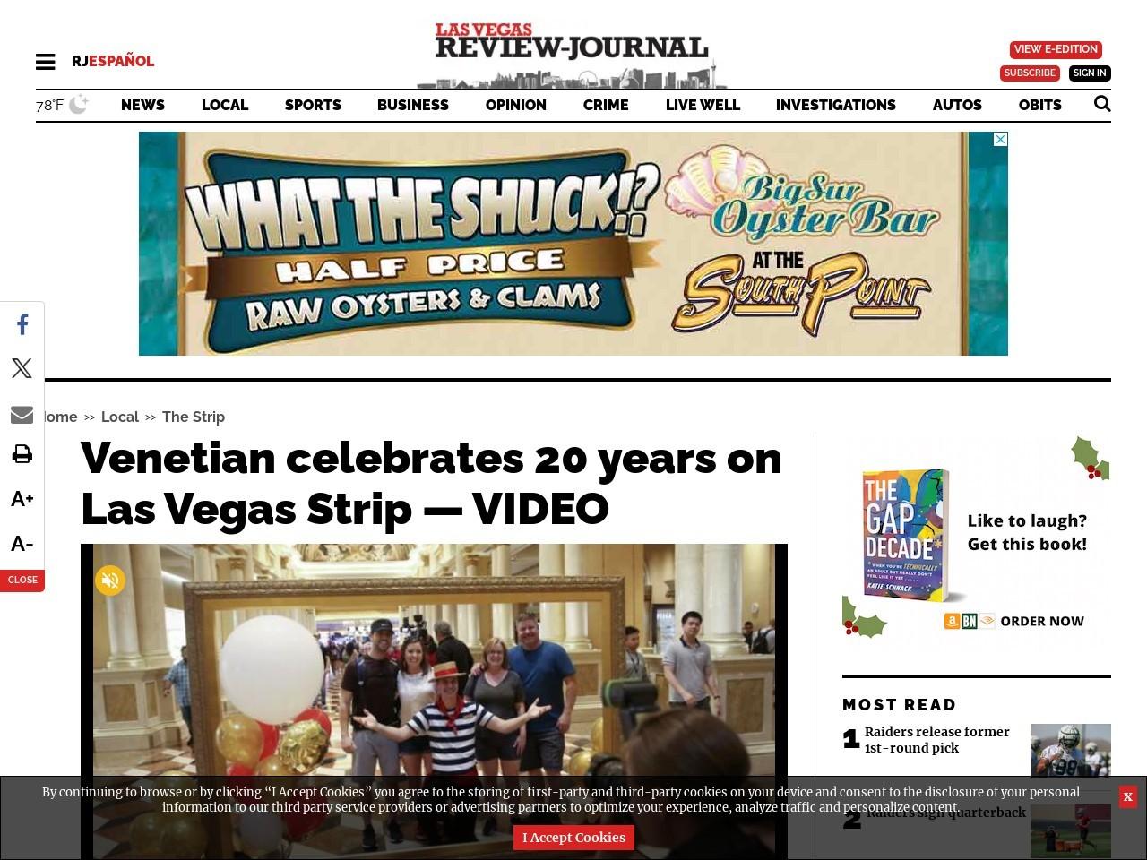 Venetian celebrates 20 years on Las Vegas Strip — VIDEO