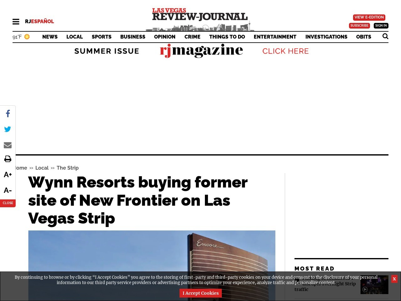 Wynn Resorts buying former site of New Frontier on Las Vegas Strip