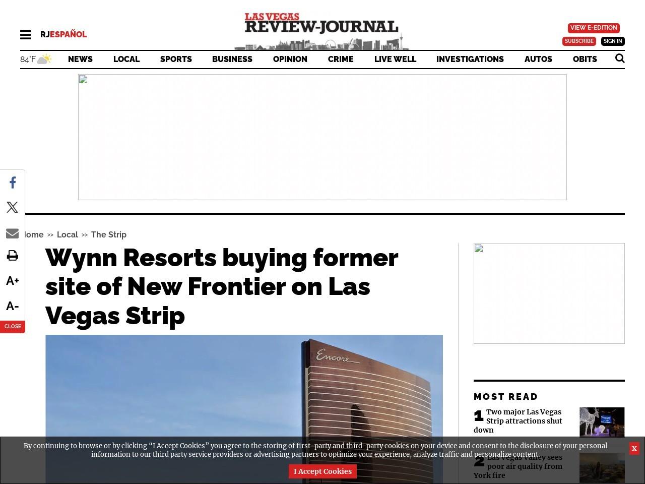 Wynn Resorts buying former site of New Frontier on Las Vegas Strip