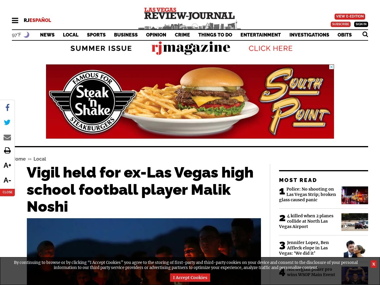 Vigil held for ex-Las Vegas high school football player Malik Noshi