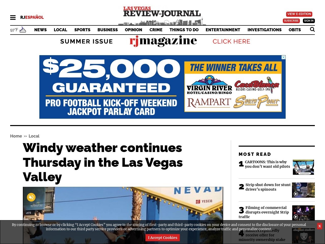Windy weather continues Thursday in the Las Vegas Valley