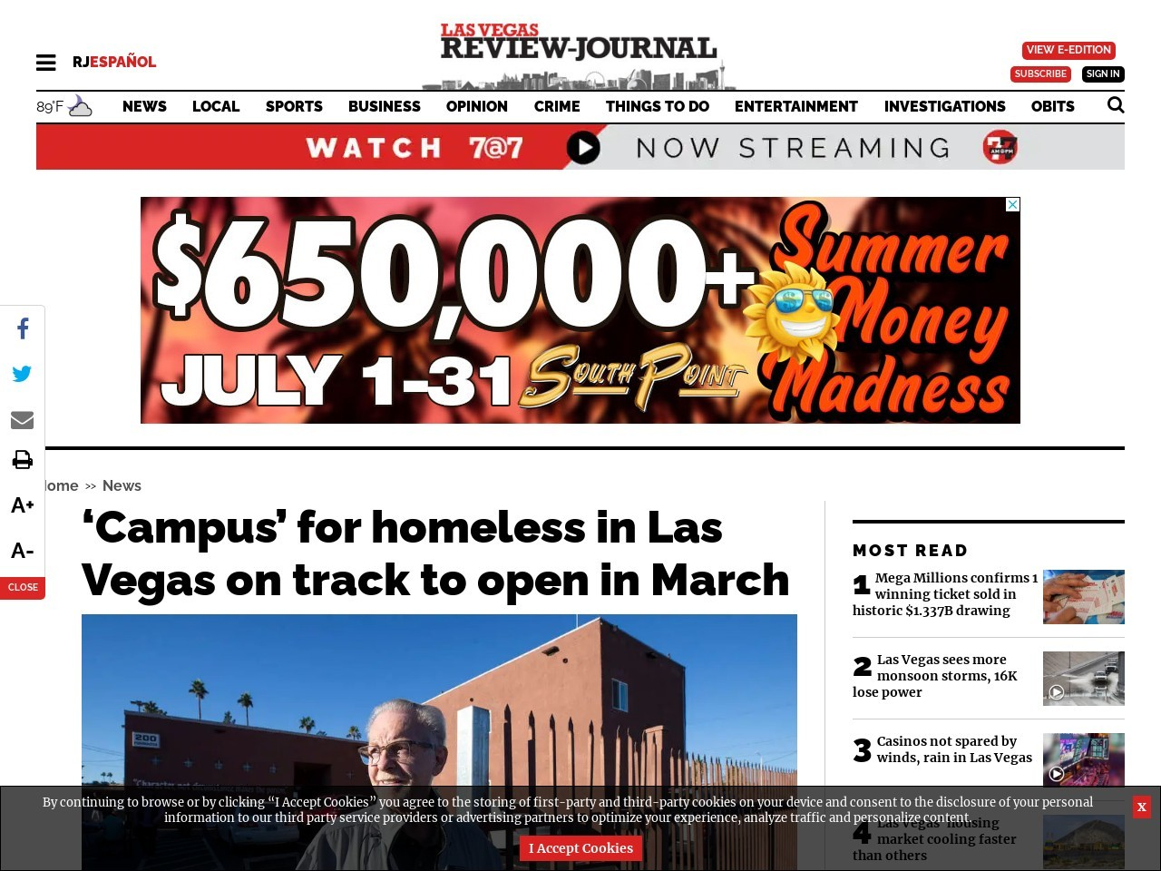 'Campus' for homeless in Las Vegas on track to open in March