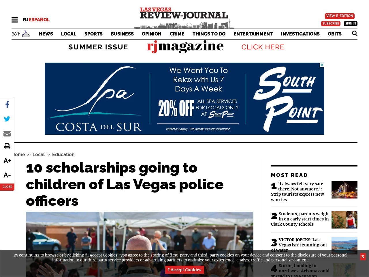 10 scholarships going to children of Las Vegas police officers