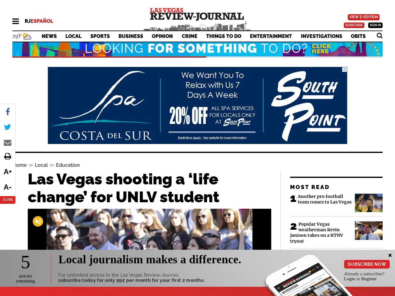 Las Vegas shooting a 'life change' for UNLV student