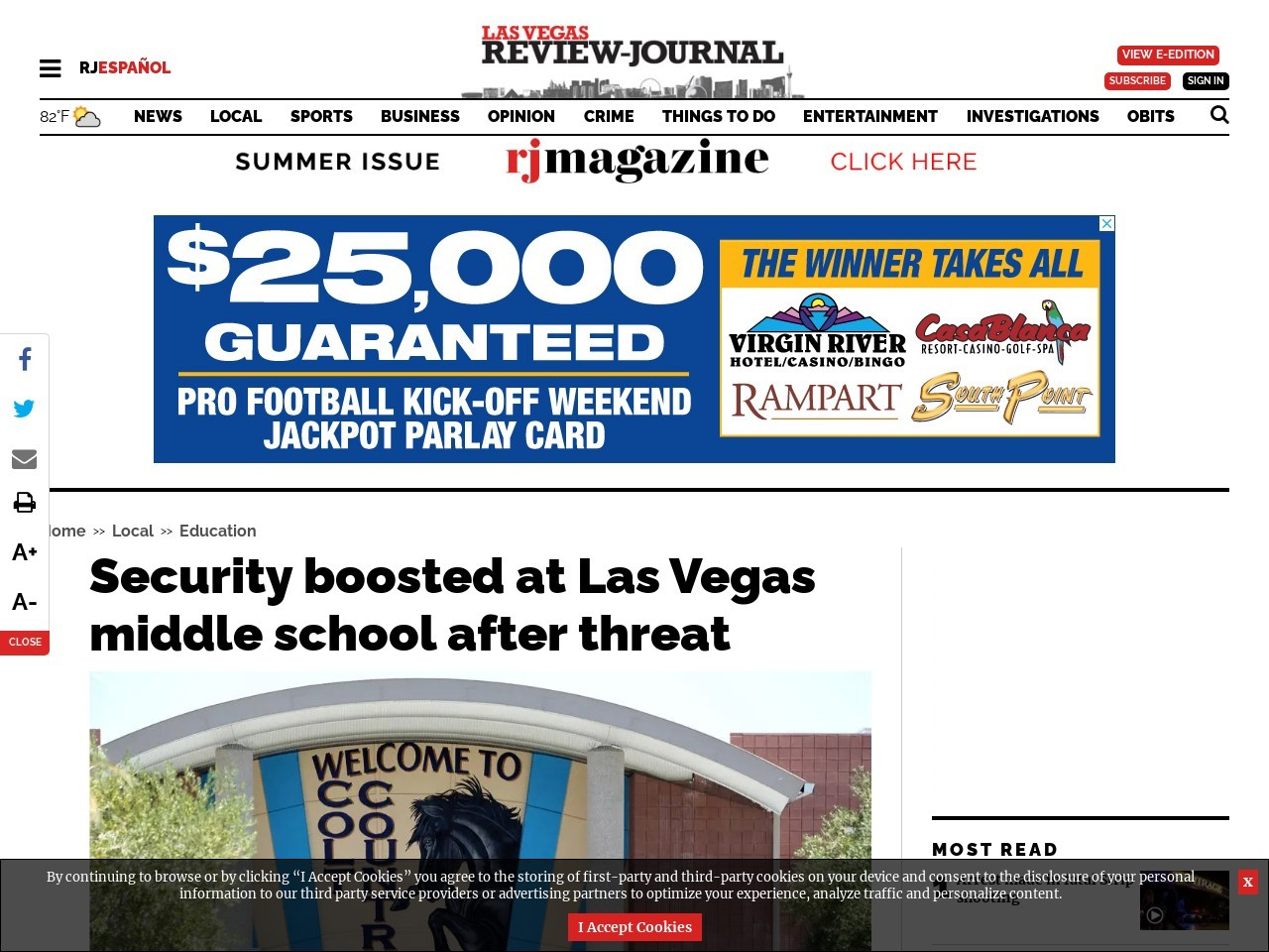 Security boosted at Las Vegas middle school after threat