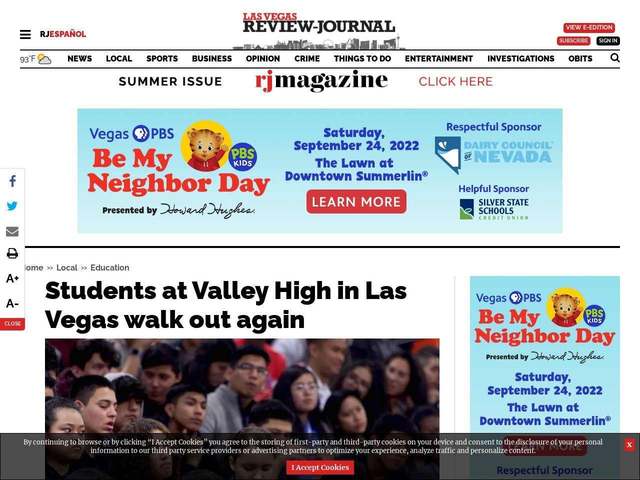 Students at Valley High in Las Vegas walk out again