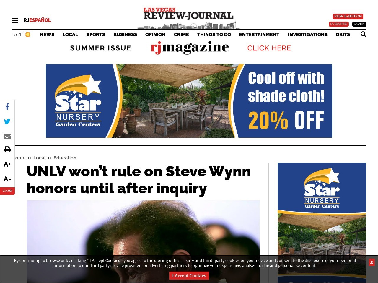 UNLV won't rule on Steve Wynn honors until after inquiry