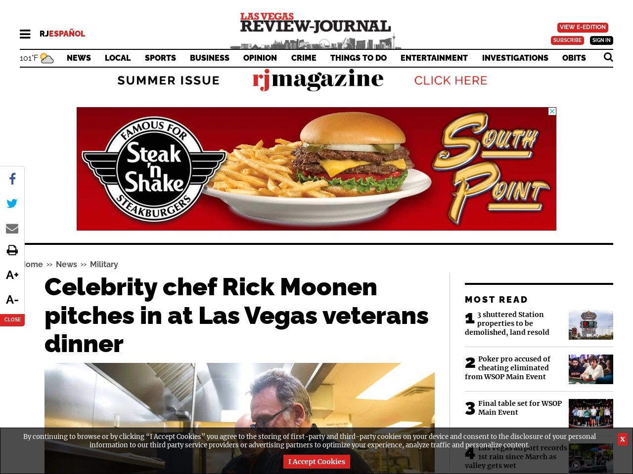 Celebrity chef Rick Moonen pitches in at Las Vegas veterans dinner