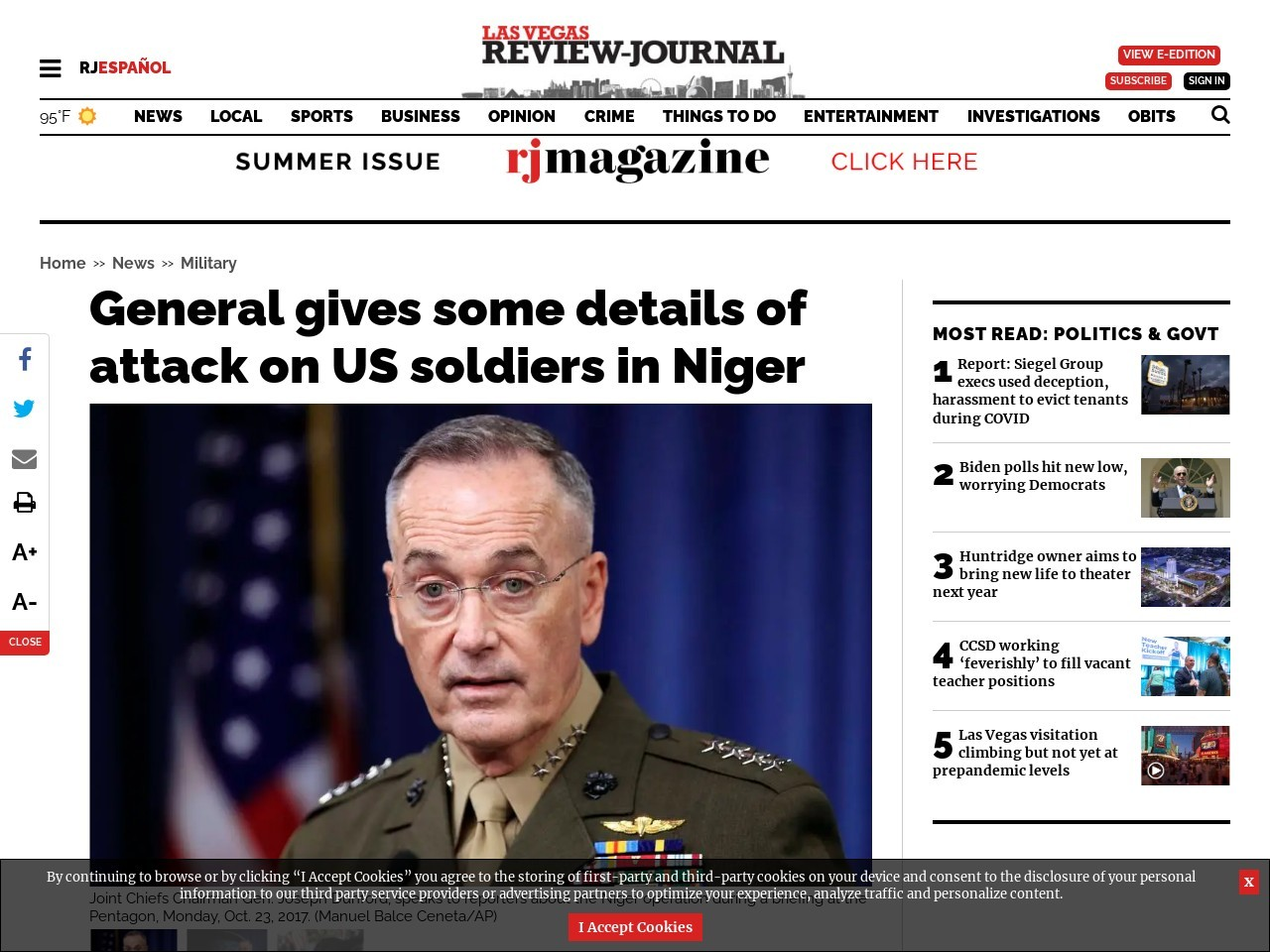 General gives some details of attack on US soldiers in Niger