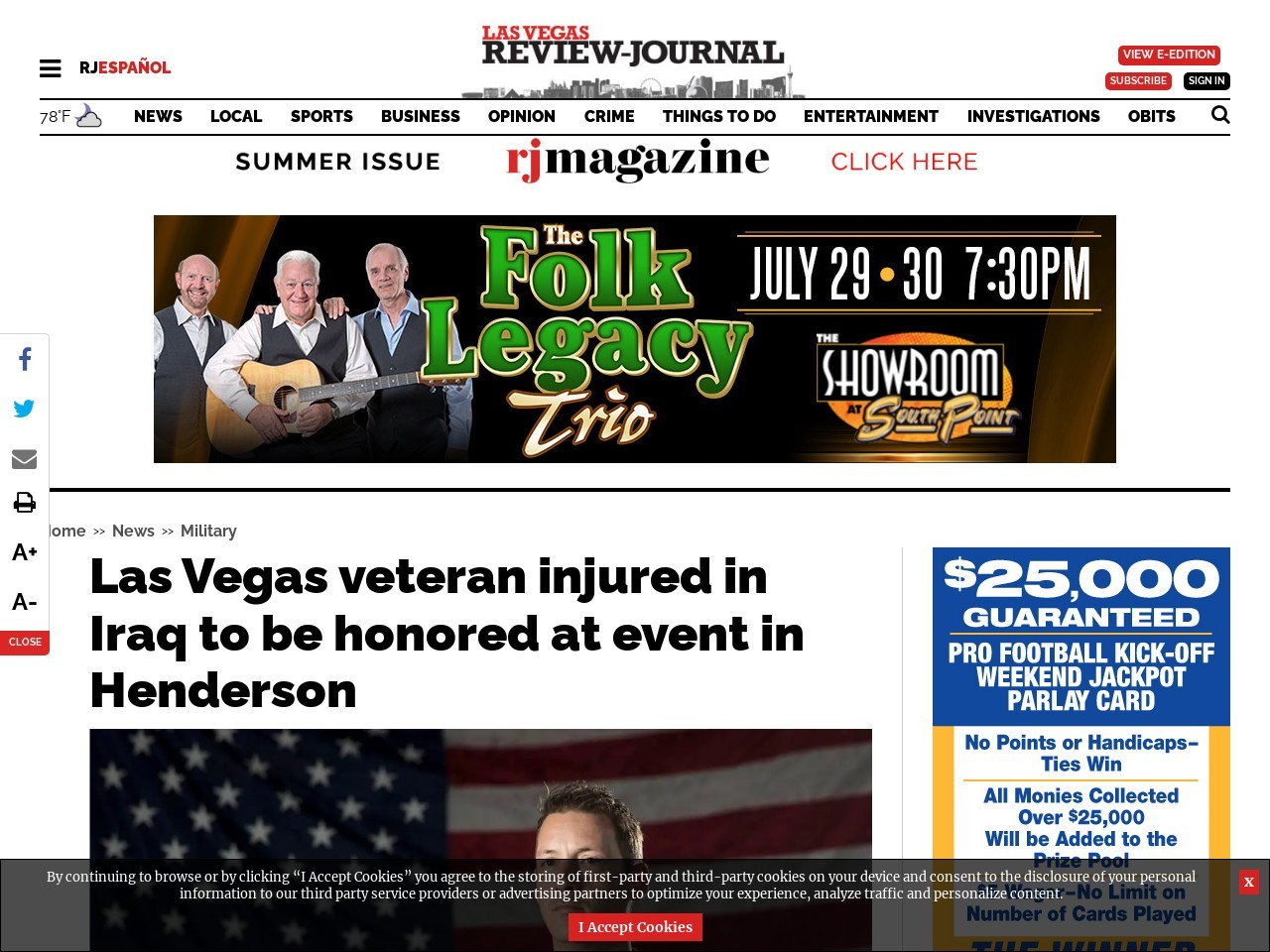 Las Vegas veteran injured in Iraq to be honored at event in Henderson
