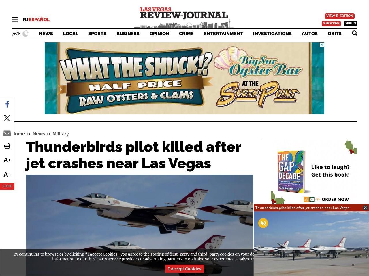Pilot's fate unknown after Nellis fighter jet crashes near Las Vegas