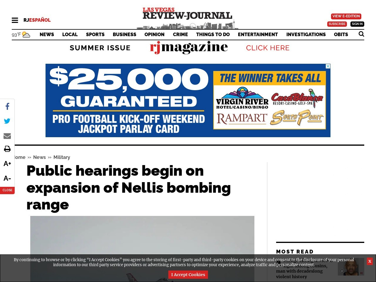 Public hearings begin on expansion of Nellis bombing range