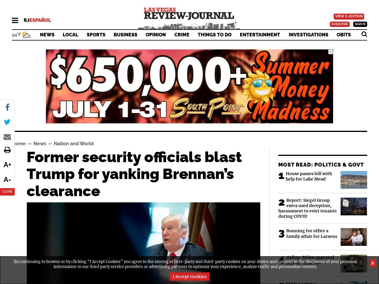 Former security officials blast Trump for yanking Brennan's clearance