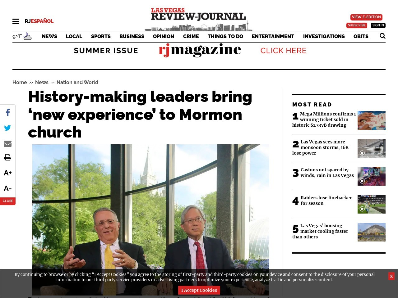 History-making leaders bring 'new experience' to Mormon church