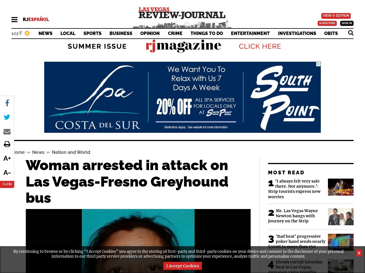 Woman arrested in attack on Las Vegas-Oakland Greyhound bus