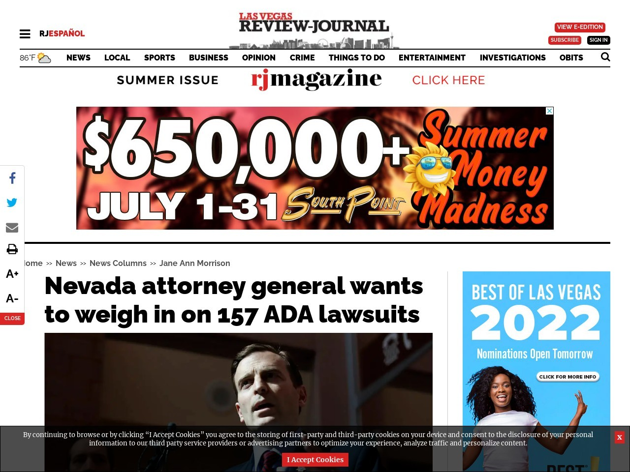 Nevada attorney general wants to weigh in on 157 ADA lawsuits