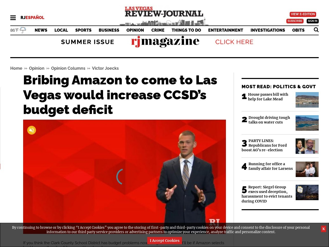 Bribing Amazon to come to Las Vegas would increase CCSD's budget deficit