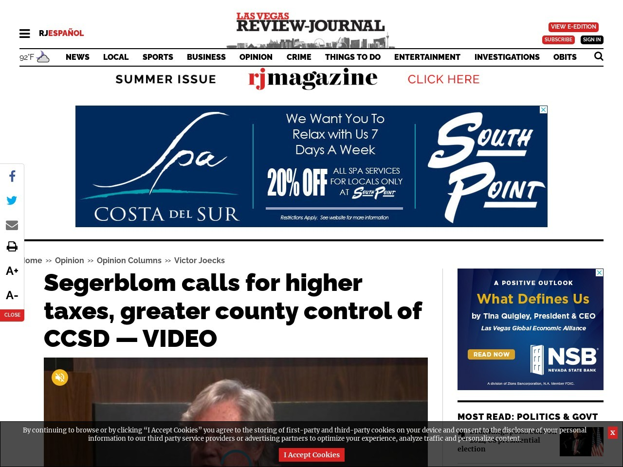 Segerblom calls for higher taxes, greater county control of CCSD — VIDEO
