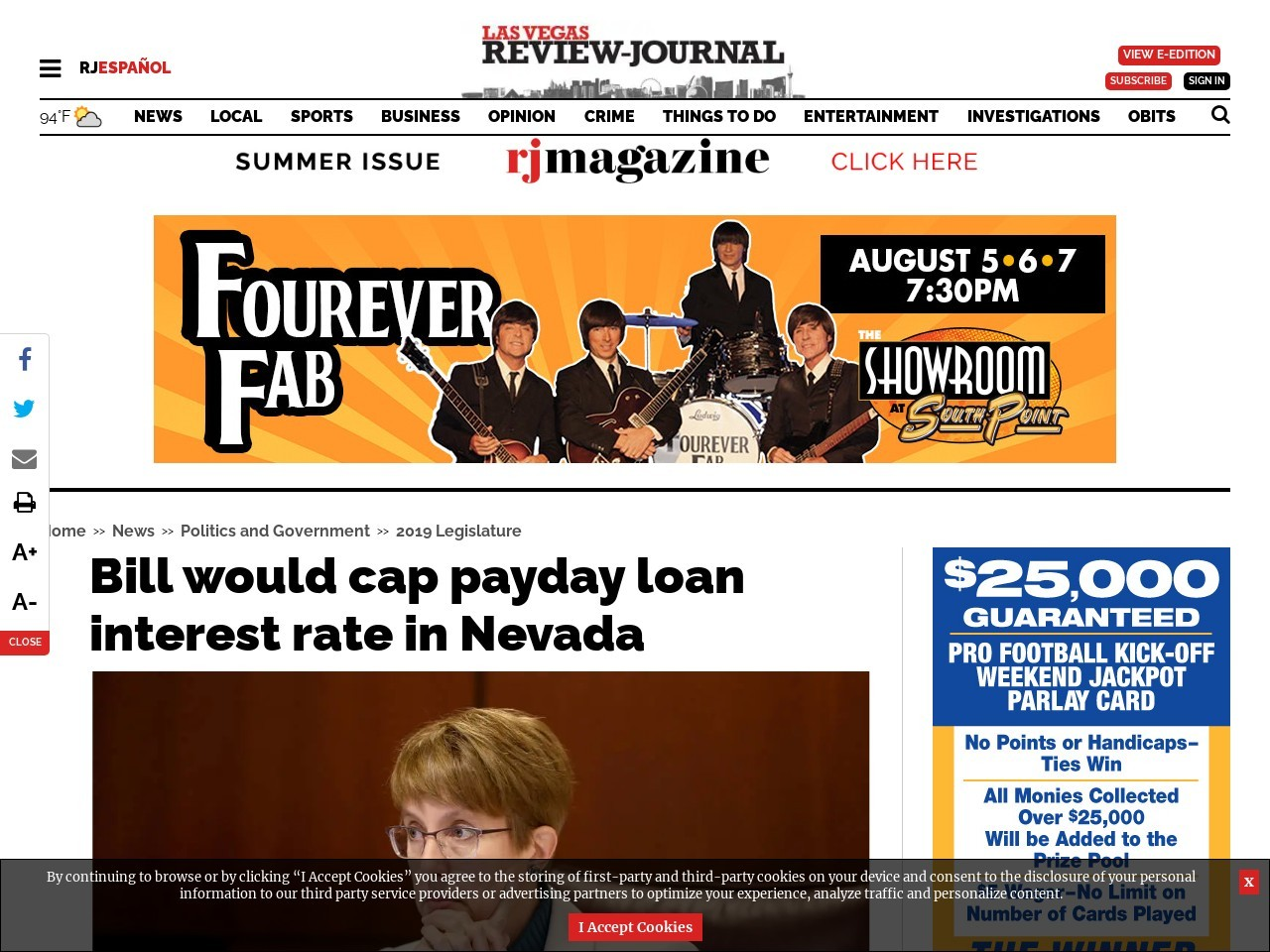 Bill would cap payday loan interest rate in Nevada