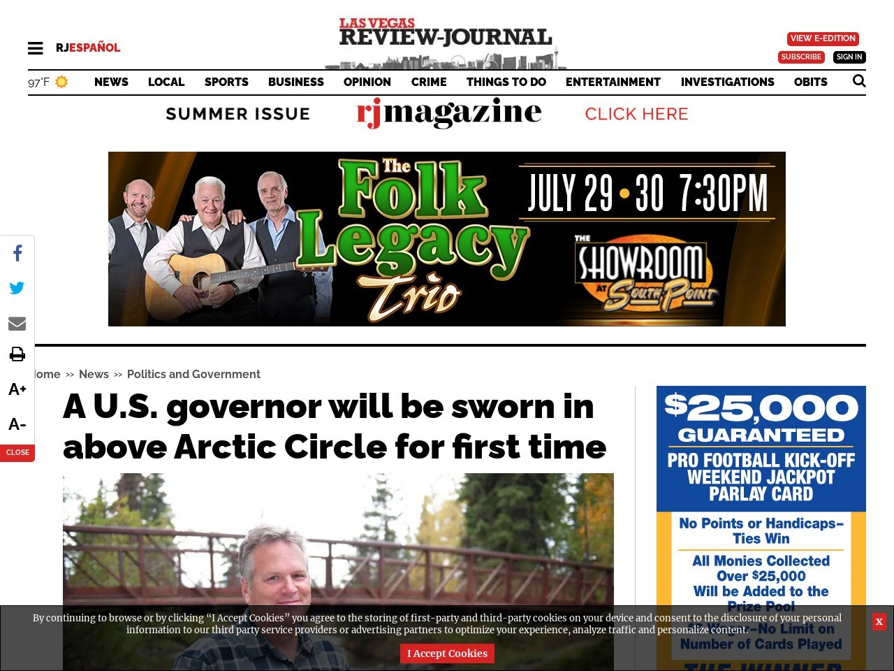 A U.S. governor will be sworn in above Arctic Circle for first time