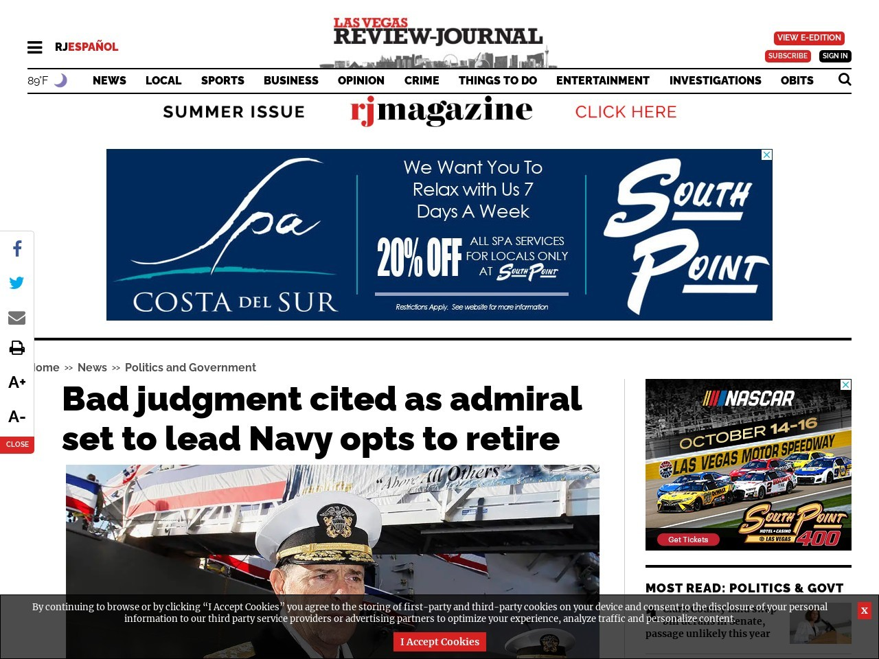 Bad judgment cited as admiral set to lead Navy opts to retire