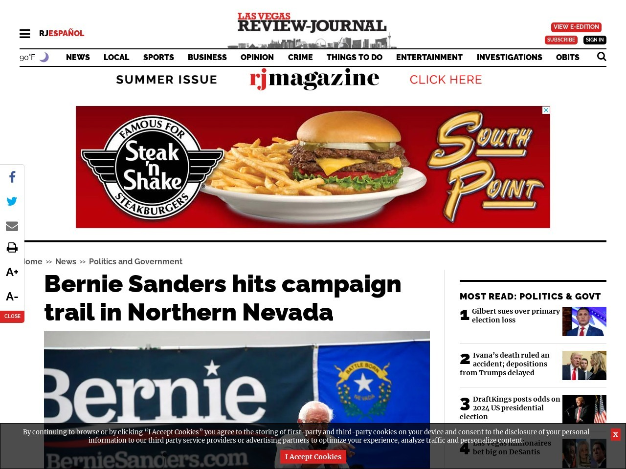 Bernie Sanders hits campaign trail in Northern Nevada