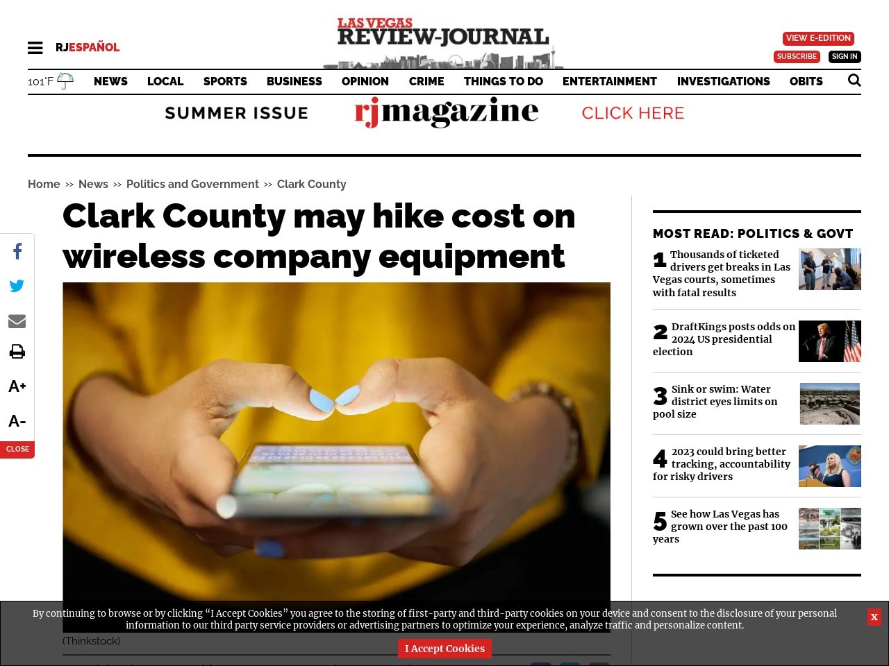 Clark County may hike cost on wireless company equipment