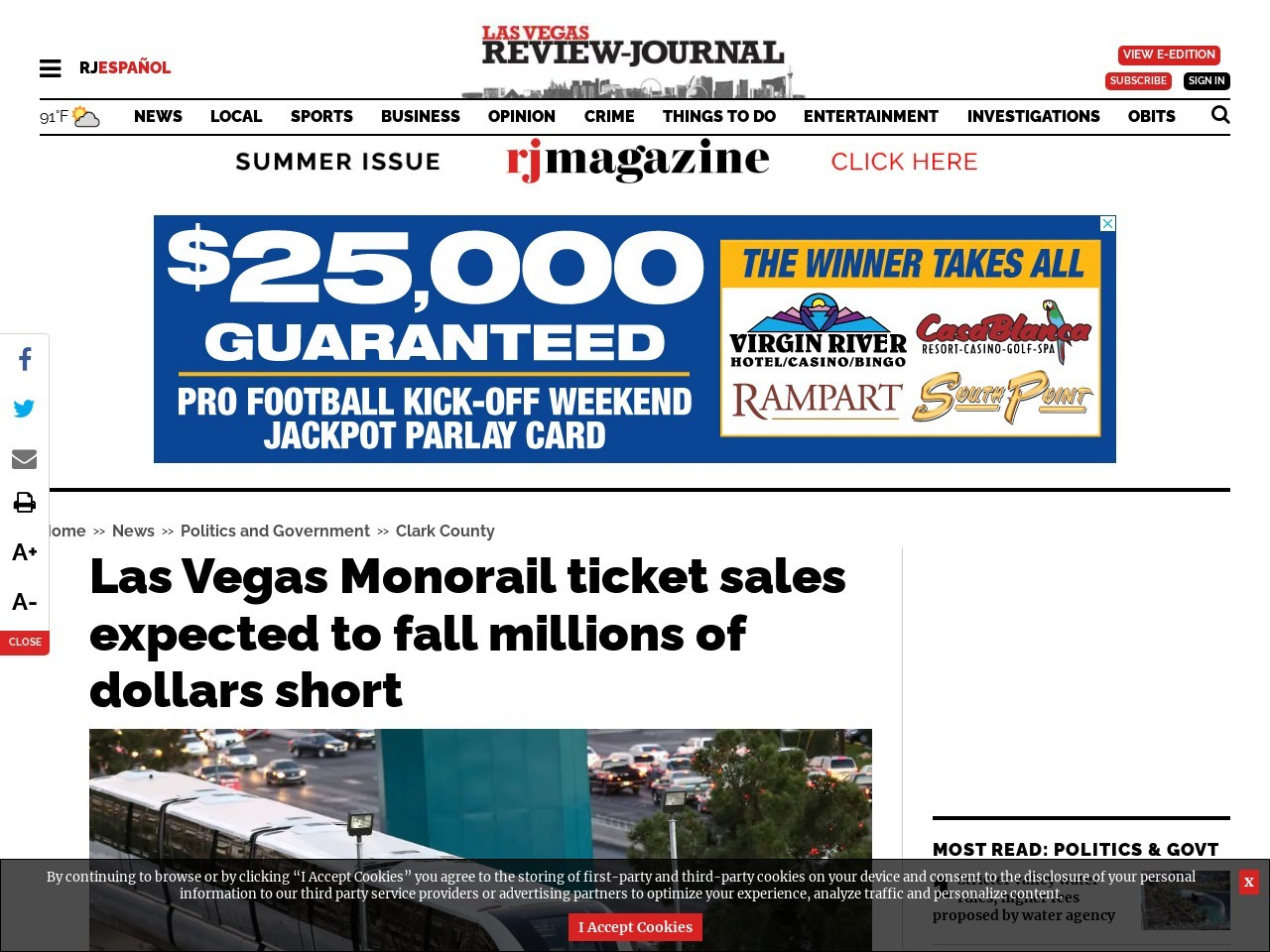 Las Vegas Monorail ticket sales expected to fall millions of dollars short