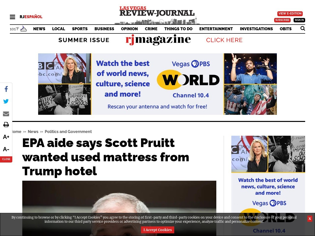 EPA aide says Scott Pruitt wanted used mattress from Trump hotel