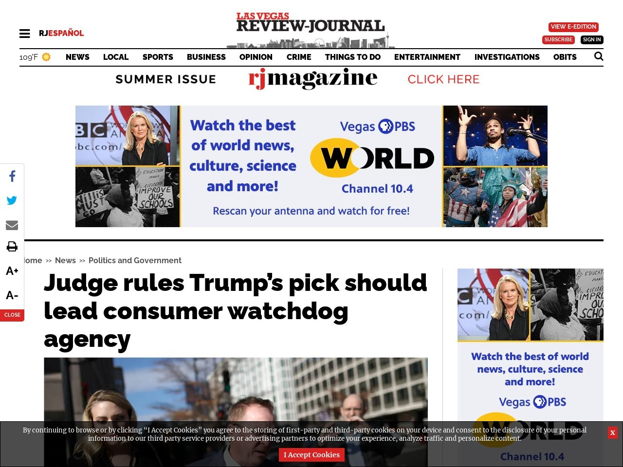Judge rules Trump's pick should lead consumer watchdog agency