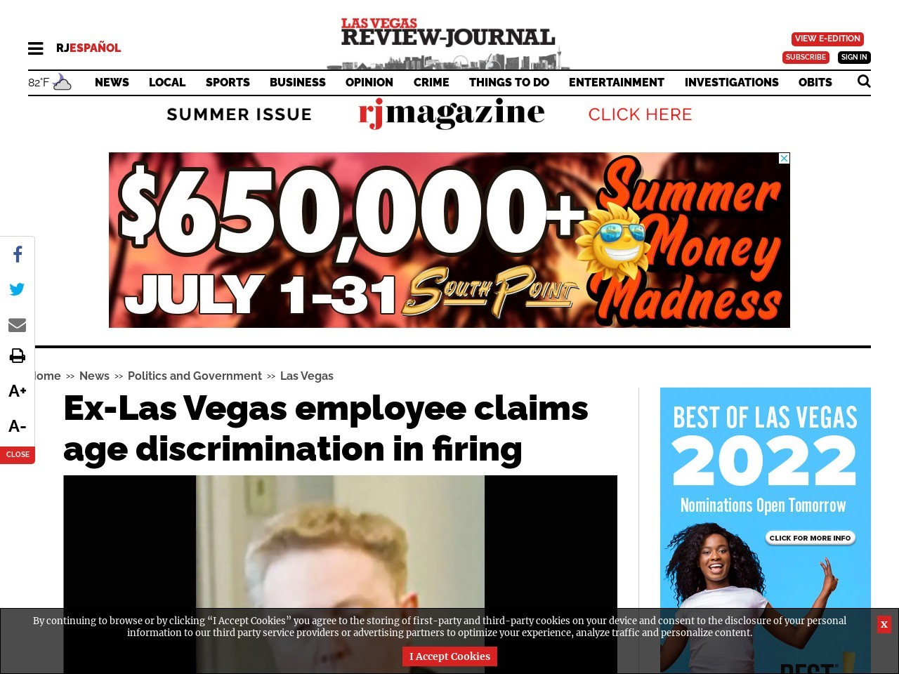 Ex-Las Vegas employee claims age discrimination in firing