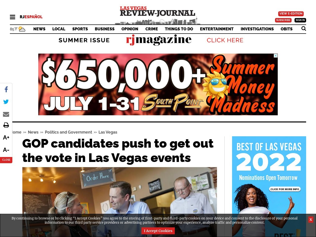 GOP candidates push to get out the vote in Las Vegas events