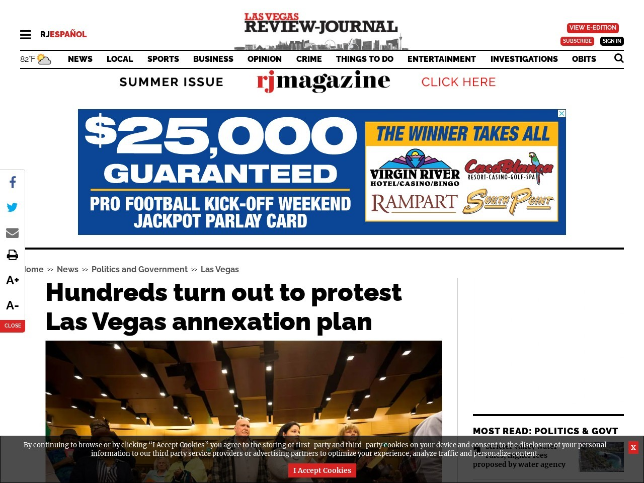 Hundreds turn out to protest Las Vegas annexation plan